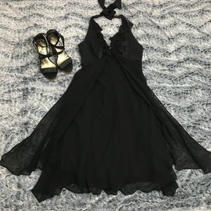 Donna Ricco Black Chiffon Silk Halter Dress Sz 8